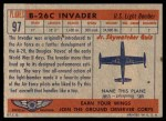 1957 Topps Planes #97 RED  B-26C Invader Back Thumbnail