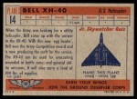 1957 Topps Planes #14 RED  Bell Xh-40 Back Thumbnail