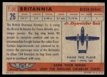 1957 Topps Planes #26 RED  Britannia Back Thumbnail