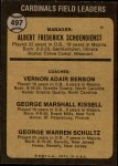 1973 Topps #497 BRN  -  Red Schoendienst / Vern Benson / George Kissell / Barney Schultz Cardinals Leaders Back Thumbnail