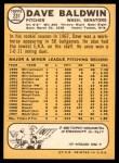 1968 Topps #231  Dave Baldwin  Back Thumbnail