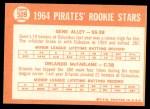 1964 Topps #509   -  Gene Alley / Orlando McFarlane Pirates Rookies Back Thumbnail
