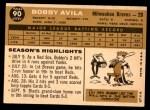 1960 Topps #90  Bobby Avila  Back Thumbnail