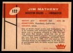1960 Fleer #122  Jim Matheny  Back Thumbnail
