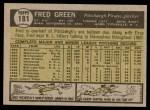 1961 Topps #181  Fred Green  Back Thumbnail
