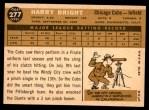 1960 Topps #277  Harry Bright  Back Thumbnail