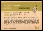 1961 Fleer #126  George Shaw  Back Thumbnail