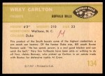 1961 Fleer #134  Wray Carlton  Back Thumbnail