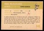 1961 Fleer #146  Bob McNamara  Back Thumbnail