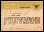1961 Fleer #191  Alan Miller  Back Thumbnail