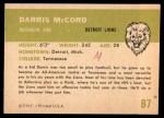 1961 Fleer #87  Darris McCord  Back Thumbnail