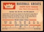 1960 Fleer #11  Arky Vaughan  Back Thumbnail