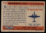 1957 Topps Planes #95 RED  Grumman S2f-1 Back Thumbnail