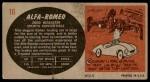 1961 Topps Sports Cars #10   Alfa-Romeo 2000 Roadster Back Thumbnail