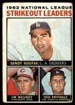1964 Topps #5   -  Sandy Koufax / Jim Maloney / Don Drysdale NL Strikeout Leaders Front Thumbnail