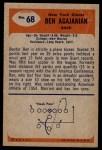 1955 Bowman #68  Ben Agajanian  Back Thumbnail