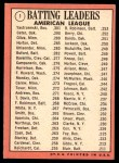 1969 Topps #1   -  Carl Yastrzemski / Danny Cater / Tony Oliva AL Batting Leaders Back Thumbnail