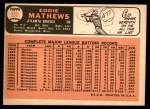 1966 Topps #200  Eddie Mathews  Back Thumbnail