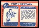 1968 Topps #34  Terry Sawchuk  Back Thumbnail
