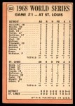 1969 Topps #162   -  Bob Gibson 1968 World Series - Game #1 - Gibson Fans 17 Back Thumbnail