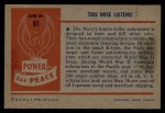 1954 Bowman Power for Peace #81   The Nose Listens! Back Thumbnail