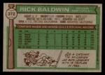1976 Topps #372  Rick Baldwin  Back Thumbnail