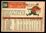 1959 Topps #204  Casey Wise  Back Thumbnail