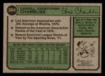 1974 Topps #384  Chris Chambliss  Back Thumbnail