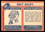 1968 Topps #96  Brit Selby  Back Thumbnail