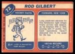 1968 Topps #72  Rod Gilbert  Back Thumbnail