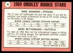 1969 Topps #66   -  Merv Rettenmund / Mike Adamson Orioles Rookies Back Thumbnail