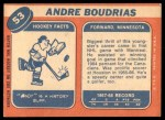 1968 Topps #53  Andre Boudrias  Back Thumbnail