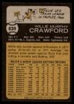 1973 Topps #639  Willie Crawford  Back Thumbnail