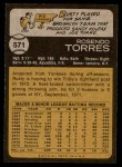 1973 Topps #571  Rusty Torres  Back Thumbnail