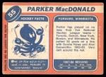 1968 Topps #55  Parker MacDonald  Back Thumbnail