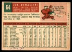 1959 Topps #64  Joe DeMaestri  Back Thumbnail