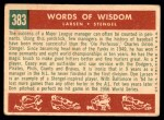 1959 Topps #383   -  Casey Stengel / Don Larson Words of Wisdom Back Thumbnail