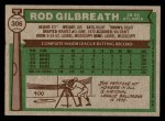 1976 Topps #306  Rod Gilbreath  Back Thumbnail