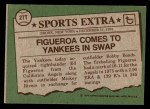 1976 Topps Traded #27 T Ed Figueroa  Back Thumbnail