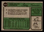 1974 Topps #642  Terry Harmon  Back Thumbnail