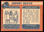 1968 Topps #5  Johnny Bucyk  Back Thumbnail