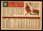 1959 Topps #90  Bill Skowron  Back Thumbnail