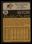 1973 Topps #384  Don Baylor  Back Thumbnail