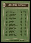 1978 Topps #509   Lions Leaders Checklist Back Thumbnail