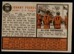 1962 Topps #280  Johnny Podres  Back Thumbnail