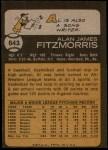 1973 Topps #643  Al Fitzmorris  Back Thumbnail