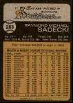 1973 Topps #283  Ray Sadecki  Back Thumbnail