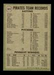 1971 Topps #603   Pirates Team Back Thumbnail