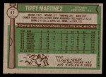 1976 Topps #41  Tippy Martinez  Back Thumbnail