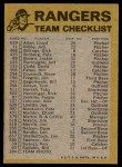 1974 Topps Red Checklist   Rangers Red Team Checklist Back Thumbnail